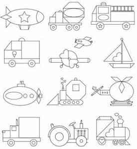 изучаем геометрические фигуры и формы раскраски транспорт